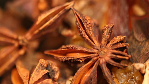 Aromatic dried anisetree spice extreme closeup, mulled wine preparation Footage