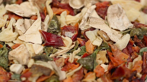 Various spices lying on kitchen table, organic herbs, cooking. Extreme close-up Footage