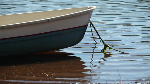 Rowing boat moored at shore Footage