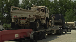 Camp Atterbury truck lorry vehicle Marshaling Yard Stock Video Footage