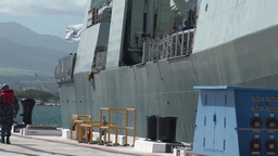 Royal Canadian Navy's frigate Calgary leaves Pearl... Stock Video Footage