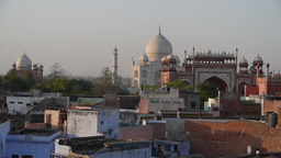 Taj Mahal From A Distance With Old Town,Agra,India stock footage