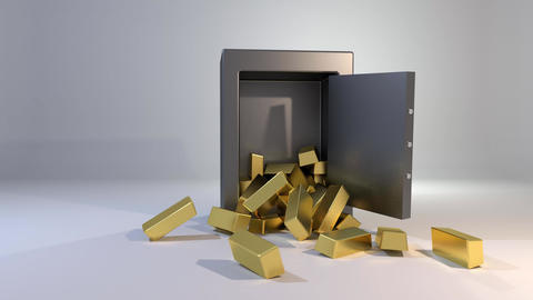 Safe vault fall spill gold bars falling spilling valuable win land landing 4K Footage