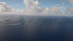 Aerial video of fleet of warships during Rim of the Pacific Exercise 2014 Footage