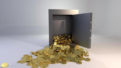 Safe vault opening spilling gold coins golden valuable win 4K Footage
