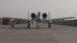 Timelapse of A-10 Thunderbolt II fighter flight preparations Footage