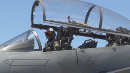 The canopy closes on an F-15E Strike Eagle during Red Flag Footage