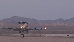 An E-3 Sentry AWACS from Tinker Air Force Base, takes off during Red Flag Footage
