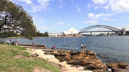 Tourists Mrs Macquarie's Chair Opera House Harbour bridge Filmmaterial