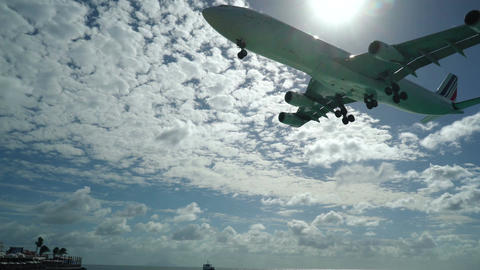 Air France air bus plane from Charles De Gaulle landing on Princess Juliana Inte Footage