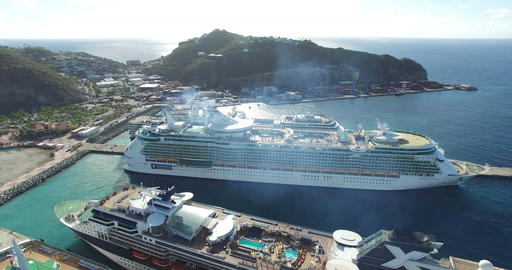 Aerial view of cruises docking Footage