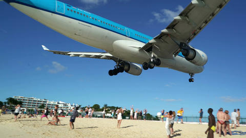 Airbus A330-200 plane low beach landing Footage