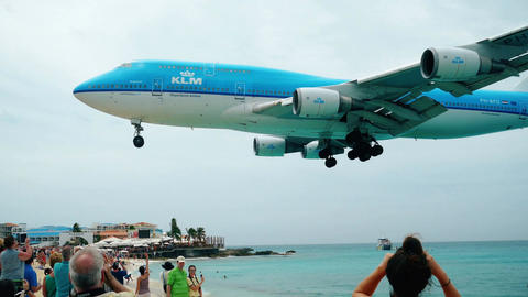 Jet Landing over the beach Footage