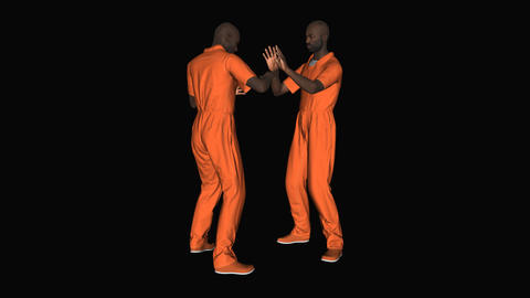 Two men in the form of prisoners is sparring animation, Alpha channel Animation