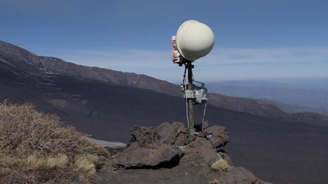 Surveillance Camera To Monitor Eruption Activity Of Mount Etna Volcano Footage