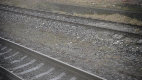 Railway. View out of window Footage
