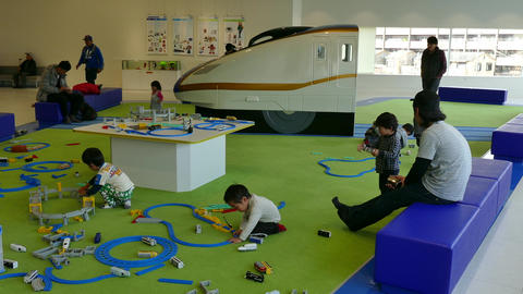 Kids Playing With Toys At Kyoto Railway Museum In Japan