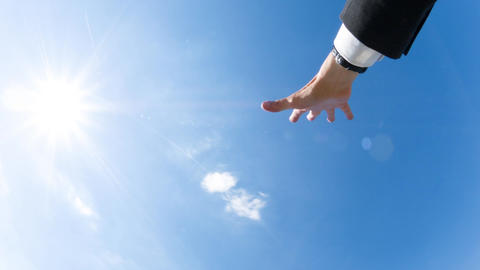 Businessman raising his hands to the sky ビデオ