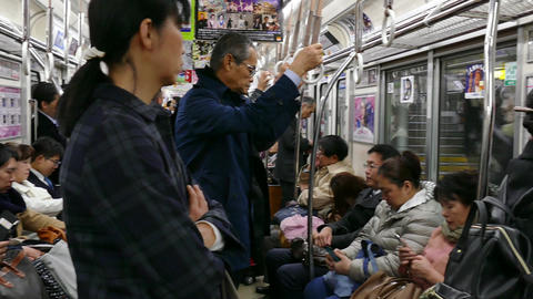 Tourists Commuters People Traveling On Train In Osaka Japan Asia Live Action