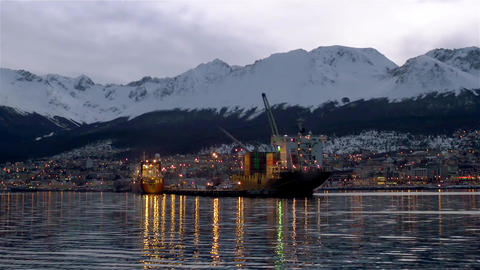 Arrival At The Port Of Ushuaia Footage