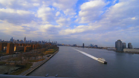 Aerial Boat Cruising The Hudson River