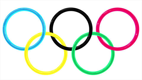 Background with the shiny 3d Olympic rings with reflected light Animation