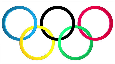 Background with the 3d Olympic rings with the emergence and fading Animation