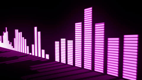 Music control levels. Glow pink-violet audio equalizer bars moving with the refl Animation