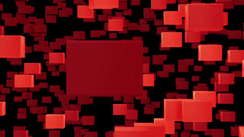 Abstract looped animated background based on the movement of red cubes of crysta Animation