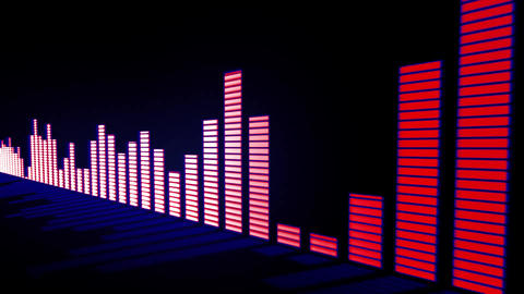 Music control levels. Glow pink-red with blue glow audio equalizer bars moving w Animation