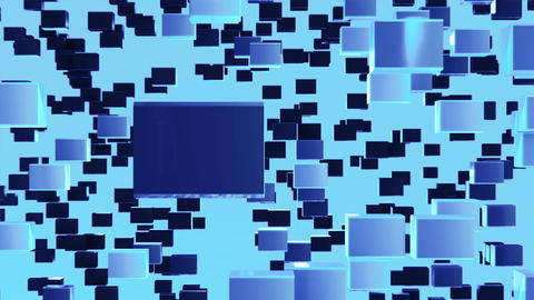 Abstract looped animated background based on the movement of blue cubes of cryst Animation