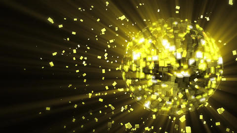 Abstract looped animated background: pulsating and spinning golden-yellow glow d Animation
