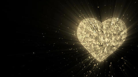 Abstract looped animated background: Rotating luminous 3d golden heart formed pi Animation
