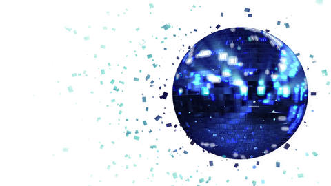 Abstract looped animated background: spinning dark-blue glow disco ball composed Animation