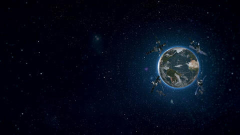 Looped Animation of Earth Satellites Side View HD Animation