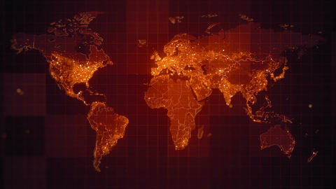 Global Red World Map Loop HD Animation