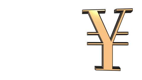 Animated spinning black-golden Yen-yuan sign against white background. Full 360  Animación