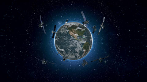 Looped Animation of Earth Satellites Front View HD Animation