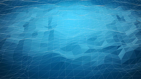 Blue abstract polygonal background with shifting wireframe lines Animation