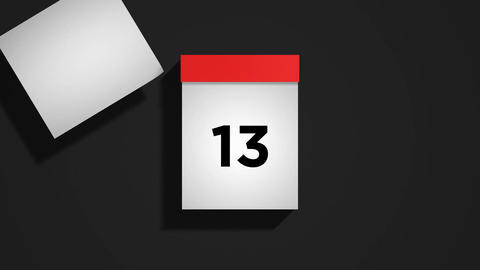 Red monthly calendar on a dark gray background with pages tearing off Animation
