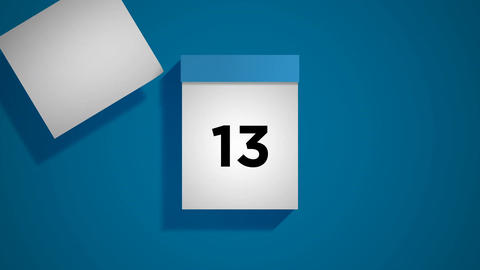 Blue monthly calendar on a blue background with pages tearing off Animation