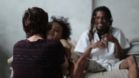 Little curly boy coming to mother's opened embrace Footage