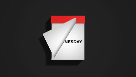 Red weekly calendar on a dark gray background with pages tearing off Animation