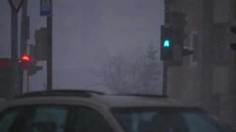 Urban life in winter time. snow blizzard, cars, people, traffic lights. People h Live Action