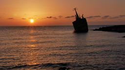 Beautiful orange sunset over Cyprus