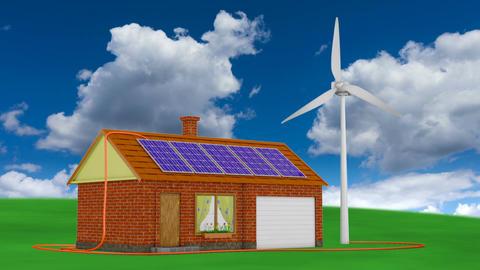 solar panels and wind generator2 CG動画素材