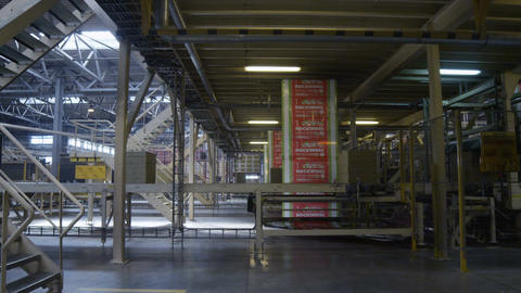 Boxes with Inscriptions Rockwool Move on Conveyors Footage