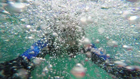 Snorkeling, Swimming in Water Bubbles Footage