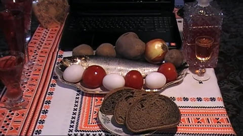 Laptop,herring,onions,potatoes,vodka,drunk, Russian