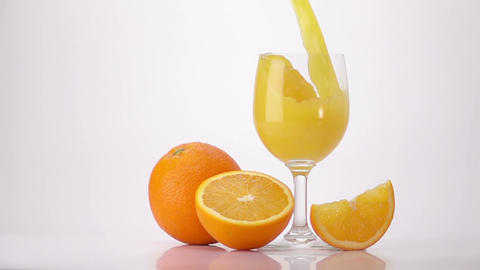Pouring Orange Juice Into Glass Footage